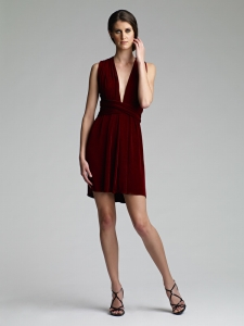Vintage Origin Infinity Dress, Burgundy Slinky, Cocktail length